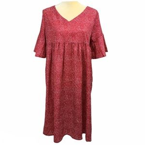 Misslook Red Holiday Empire Waist Dress Size M